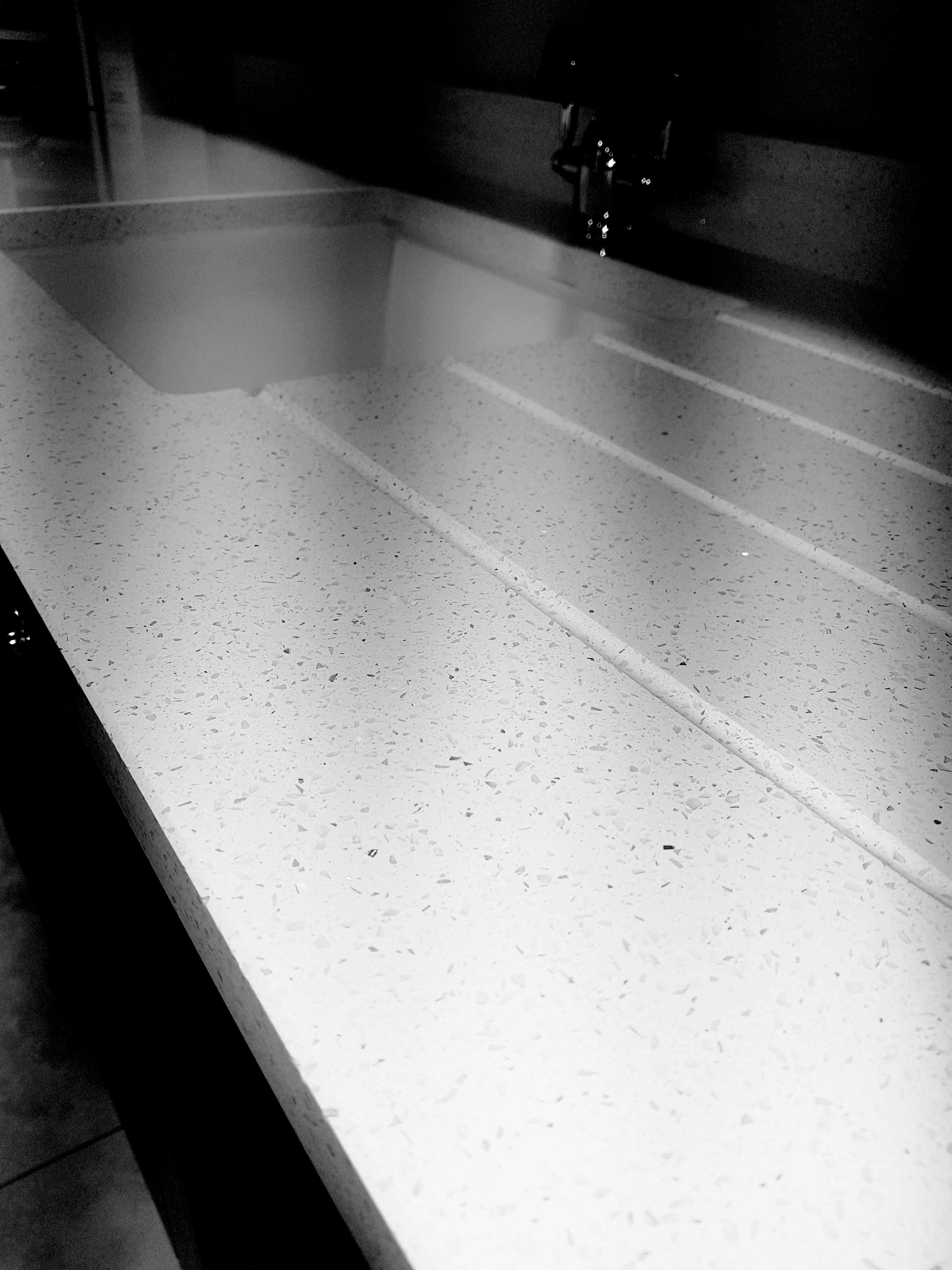 Quartz kitchen worktop with undermount sink